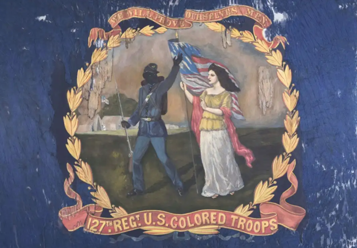 1864 battle flag carried by the '127th Regiment U.S. Colored Troops,' hand-painted by African-American artist and Union troop David Bustill Bowser. Only surviving flag of those Bowser created for the 11 Pennsylvania Black regiments. Sold by Morphy Auctions for $196,800 on June 13, 2019. Morphy Auctions image