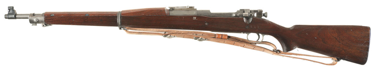 """Lot #: 723. """"L.T.T."""" Inspected Springfield Armory Model 1903 Bolt Action Rifle with Bayonet. Estimated Price: $1,100 - $1,600."""