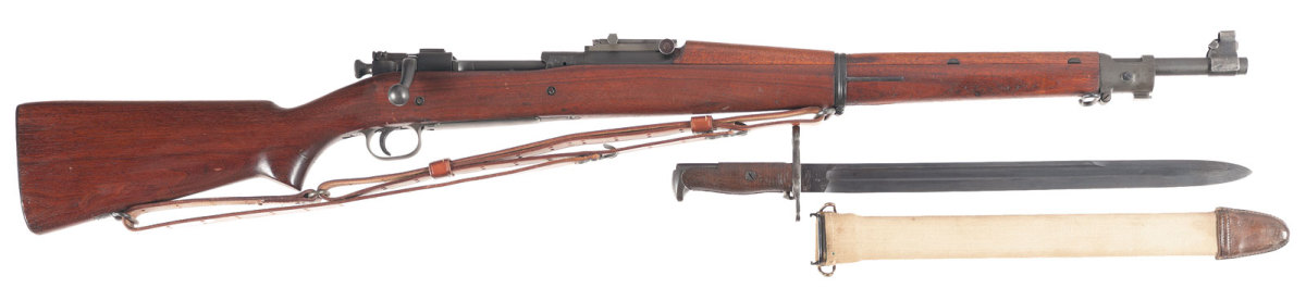 Lot #: 689. Springfield Armory Model 1903 Bolt Action Rifle with Bayonet. Estimated Price: $1,100 - $1,600