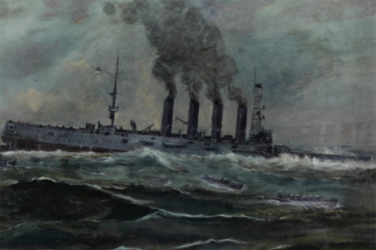 USS San Diego (Armored Cruiser No. 6). Painting by Francis Muller, 1920. It depicts the ship sinking off Fire Island, New York, after she was torpedoed by the German submarine U-156, 19 July 1918. U.S. Navy Photo of a work in the Navy Art Collection courtesy of Naval History and Heritage Command.