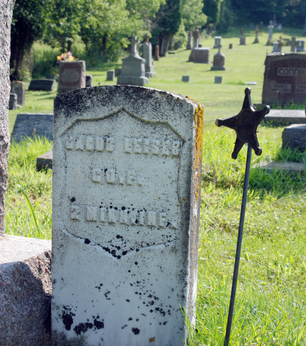 """Great-Great-Uncle Jakob Leitzer (later anglicized as """"Jacob Leiser"""") served with his brother-in-law, Bernhardt Graf, in Co. F, 2nd Minnesota Infantry."""