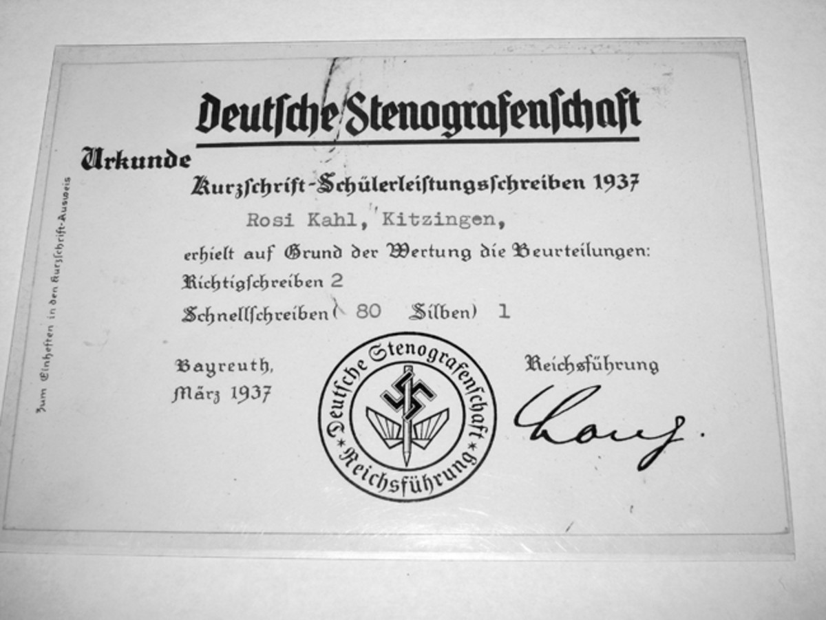 Rosi Kahl received this certificate in 1937 for quick and accurate shorthand recording.
