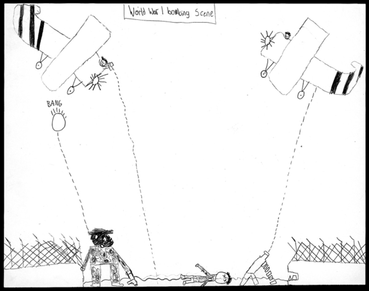 """World War I Bombing Scene,"" by Trent Leonard, 6th Grade"