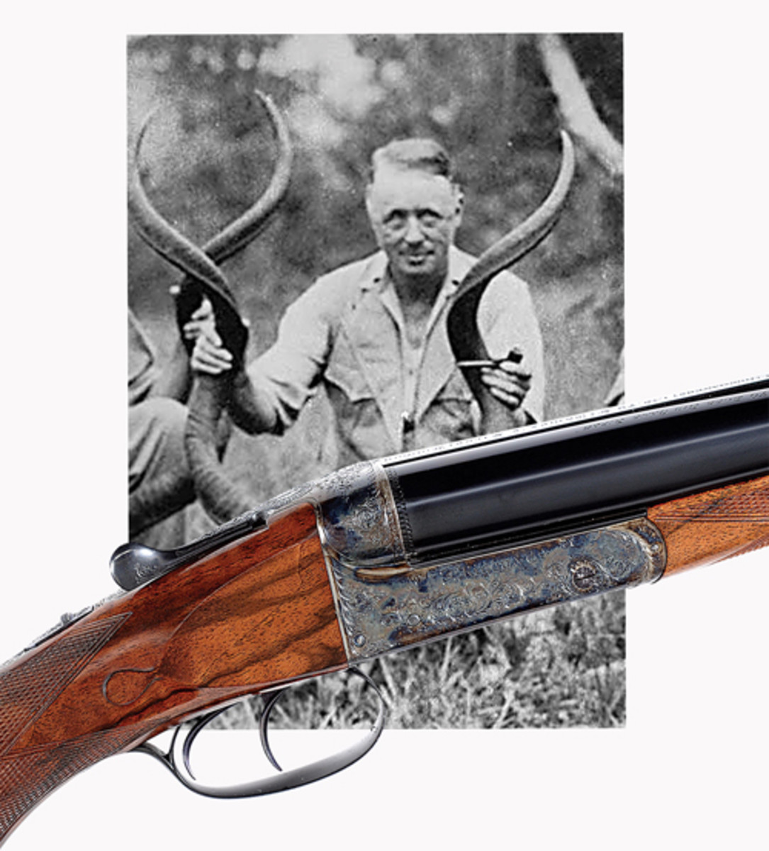 """John Rigby cal .470 Boxlock Ejector Double Rifle owned by Philip H. Percival, the """"Dean of African Professional Hunters"""" who inspired Hemingway's character """"Pop"""" in """"Green Hills of Africa;"""" estimated at $75,000-150,000, sold for $80,500."""