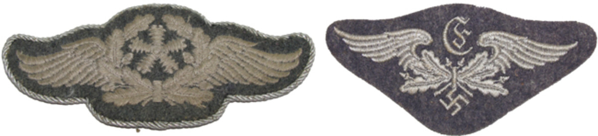 "(Left) ""Flugzeugpersonal"" Aircraft technical personnel patch with twisted silver cord for NCO. (Right) ""Entfernungsmesser"" Rangefinder personnel."