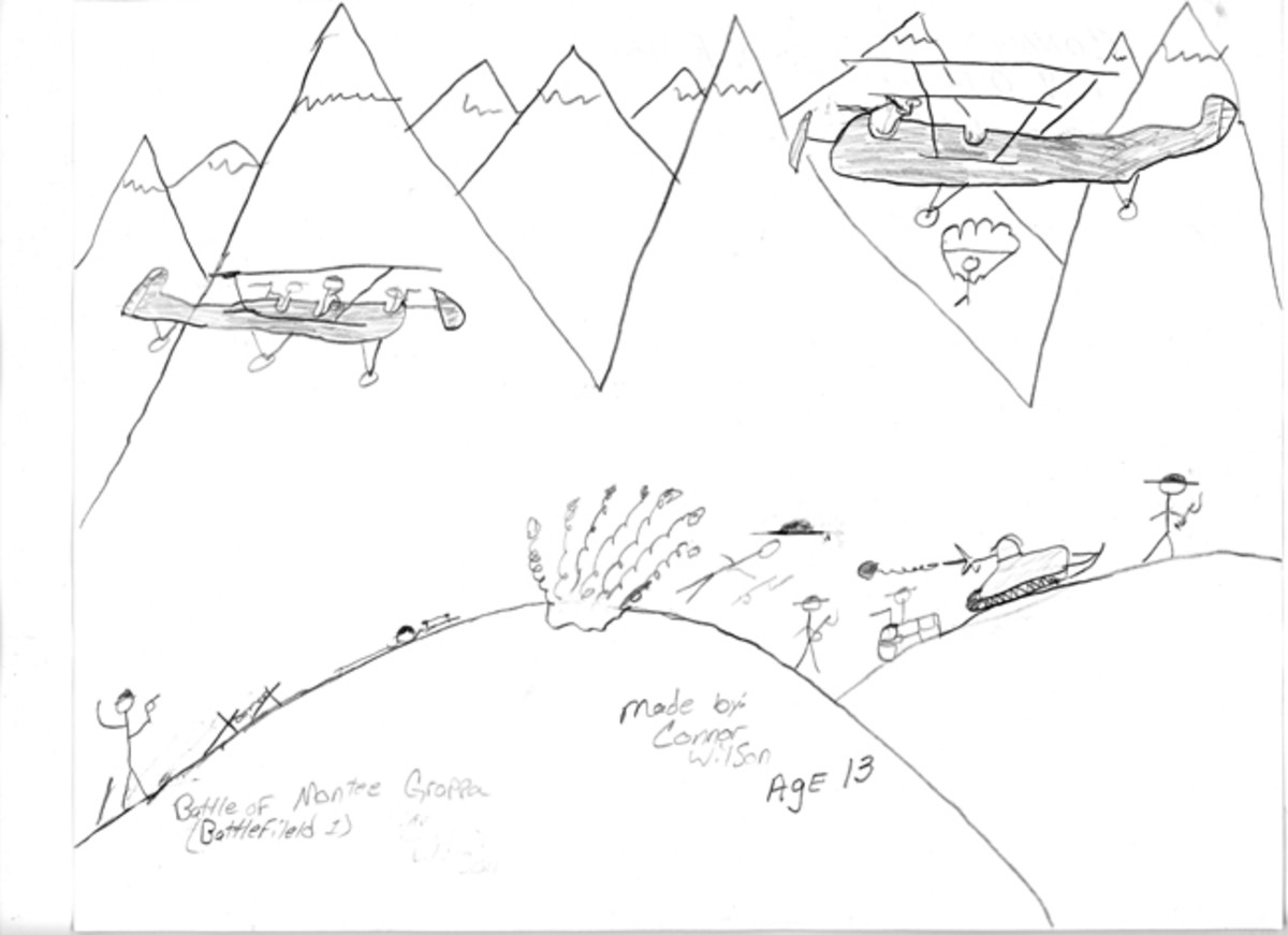 """The Battle of Monte Groppe,"" by Connor Wilson, age 13."