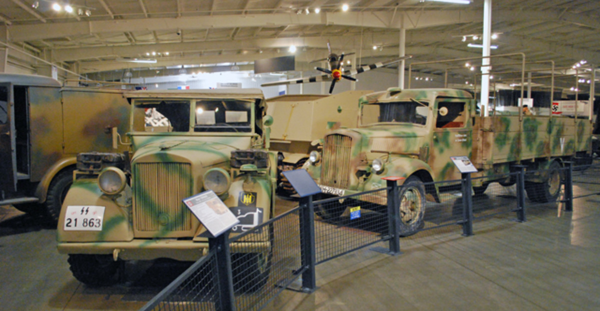 All four of the four vehicles in this photo – from left, a Steyr 1500A/02 firefighting vehicle, a Horch Type EF command car, a Hotchkiss GW39H(F) antitank vehicle and an Opel Blitz omnibus cab truck – were sold by the end of the auction.