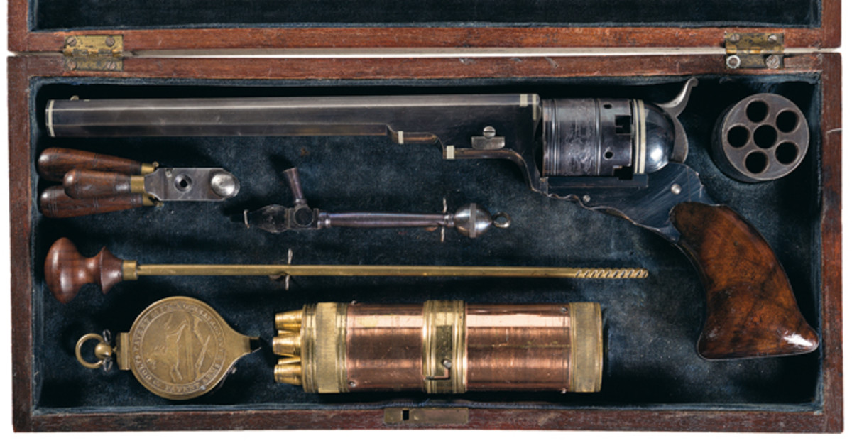 Exceptionally Rare and Magnificent, Documented Silver-Banded, Factory Cased Colt No. 5 Squareback Model Texas Paterson Percussion Revolver