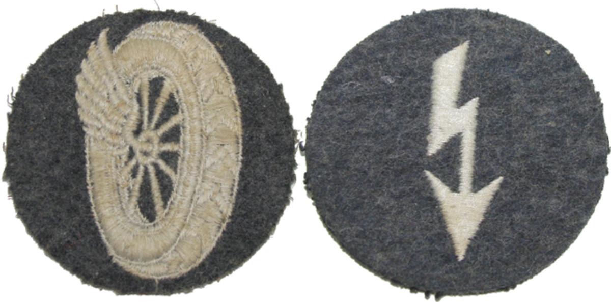 "(Left) ""Kraftfahrzeuggerat"" Motor vehicle administrators. (Right) ""Truppennachrichtenpersonal der Flieger und Flaktruppe"" Flying and Flak signals."