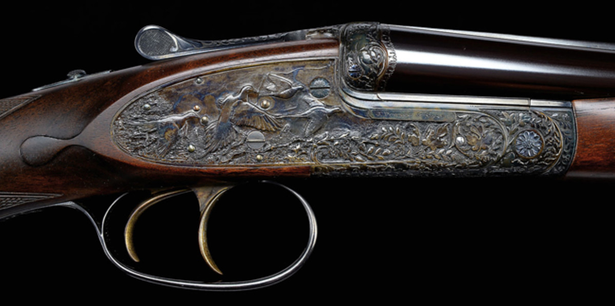 Exceptional Ken Hunt Relief Sculpted James Purdey cal .410 Sidelock Ejector Game Gun; estimated at $80,000-120,000, sold for $103,500.