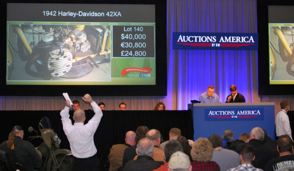 Bidding for some of the motorcycles was very spirited. The 1942 Harley-Davidson XA sold for $40,000, well above its expected $35,000 price.