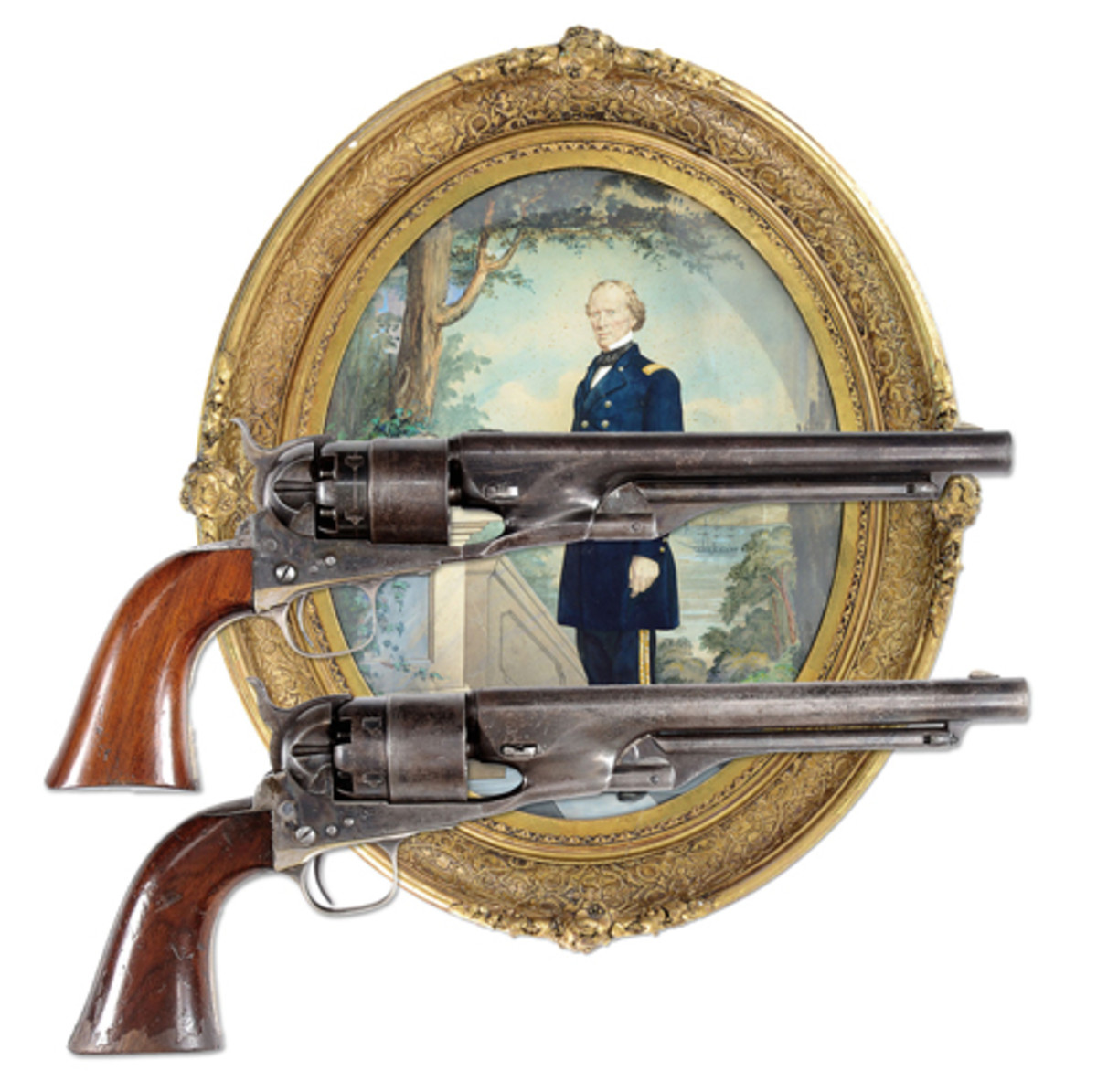 Historic and Iconic Extremely Fine Cased Pair of Col. Colt Presentation Model 1860 Army Percussion Revolvers to Col. James Cameron who died heroically at the Battle of First Bull Run. James was the brother of Simeon (Lincoln's Sec. of War); estimated at $100,000-150,000, sold for $132,250.
