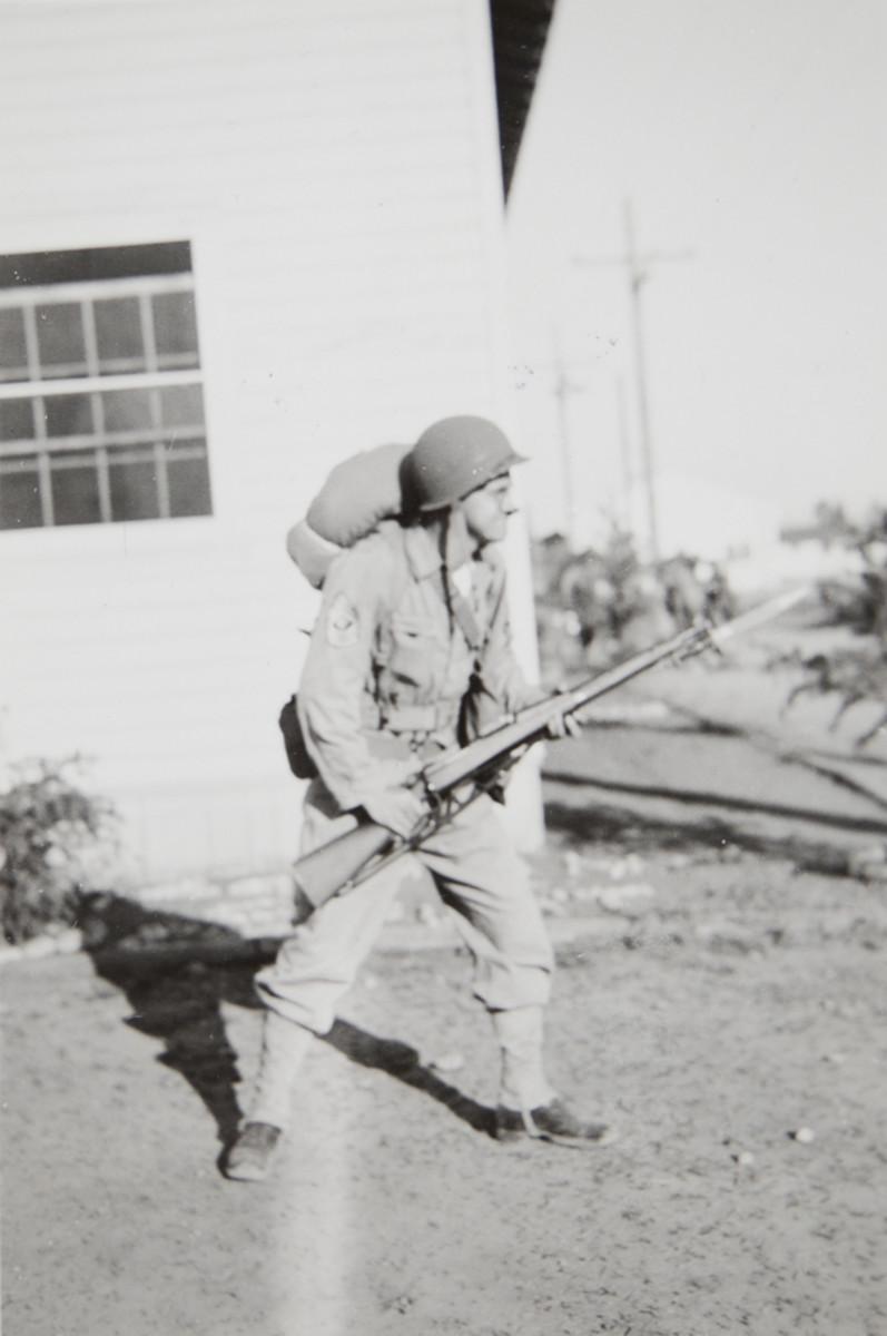 1st Sgt. J. Milton Graf, ca. 1944-45: Still carrying that M1903!