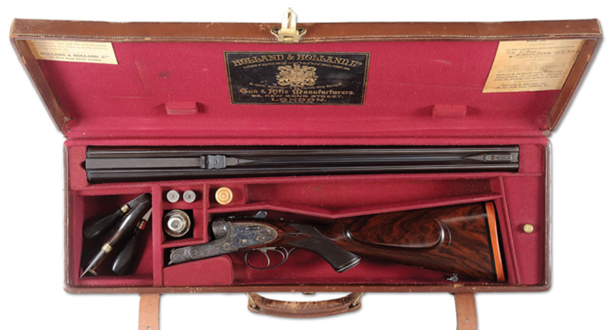 Incredible Golden Age Holland & Holland Royal Deluxe Hammerless Ejector Double Rifle in cal. .577 Nitro Express made for his Highness Sir Ranjit Singhji; estimated at $60,000-100,000, sold for $115,000.