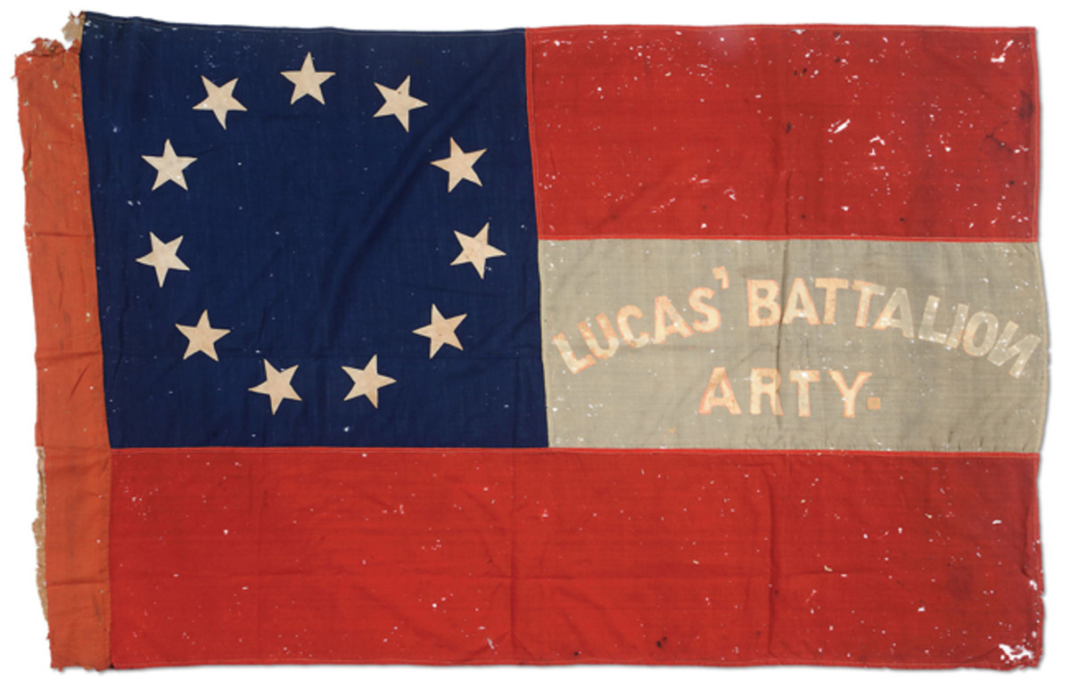 """Confederate 1st National Battle Flag of the 15th South Carolina Heavy Artillery Battalion, """"Lucas Artillery;"""" estimated at $40,000-60,000, sold for $46,000."""
