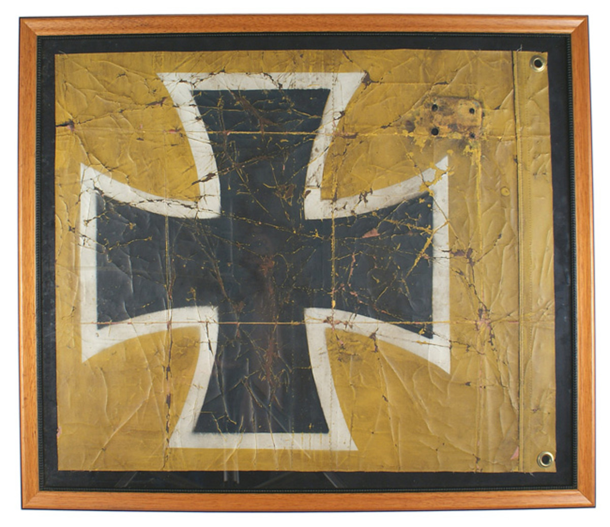 Original section of fabric from a German World War I-era Albatross plane, yellow painted canvas-type material, featuring a black Iron Cross image.