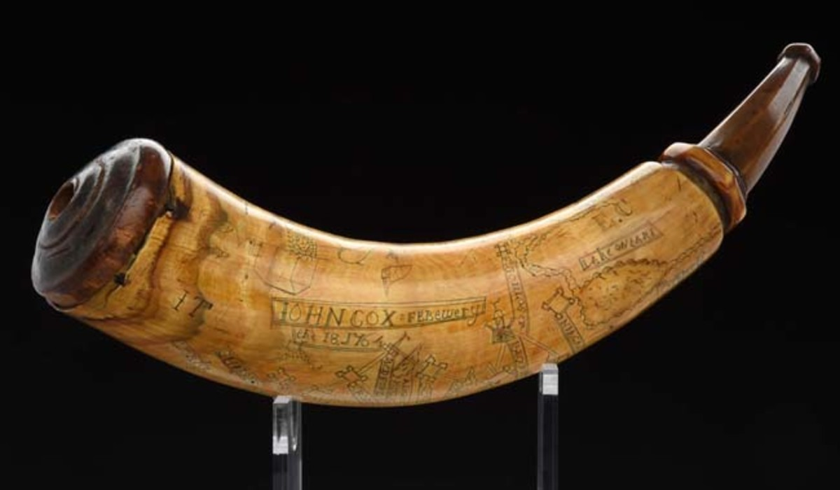 Engraved road map powder horn belonging to John Cox, dated 1764, Fort Pitt, Pennsylvania. Sold for $84,000