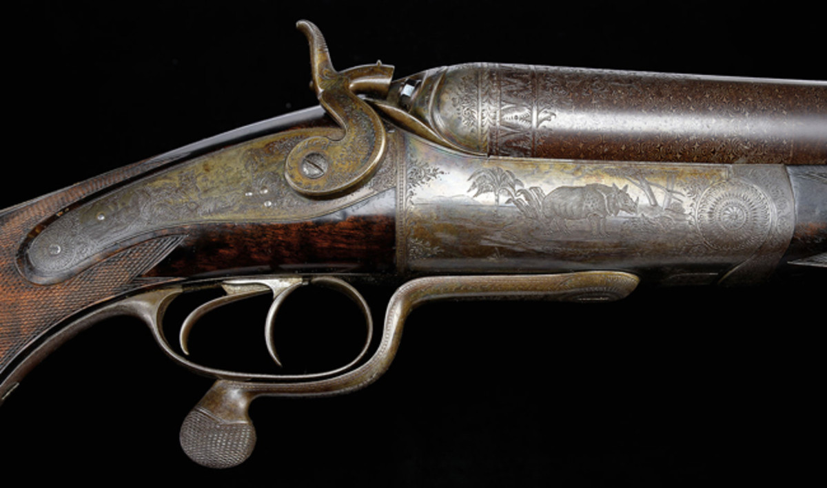 Humongous Holland & Holland Four Bore Double Elephant Rifle; estimated at $60,000-90,000, sold for $149,500.