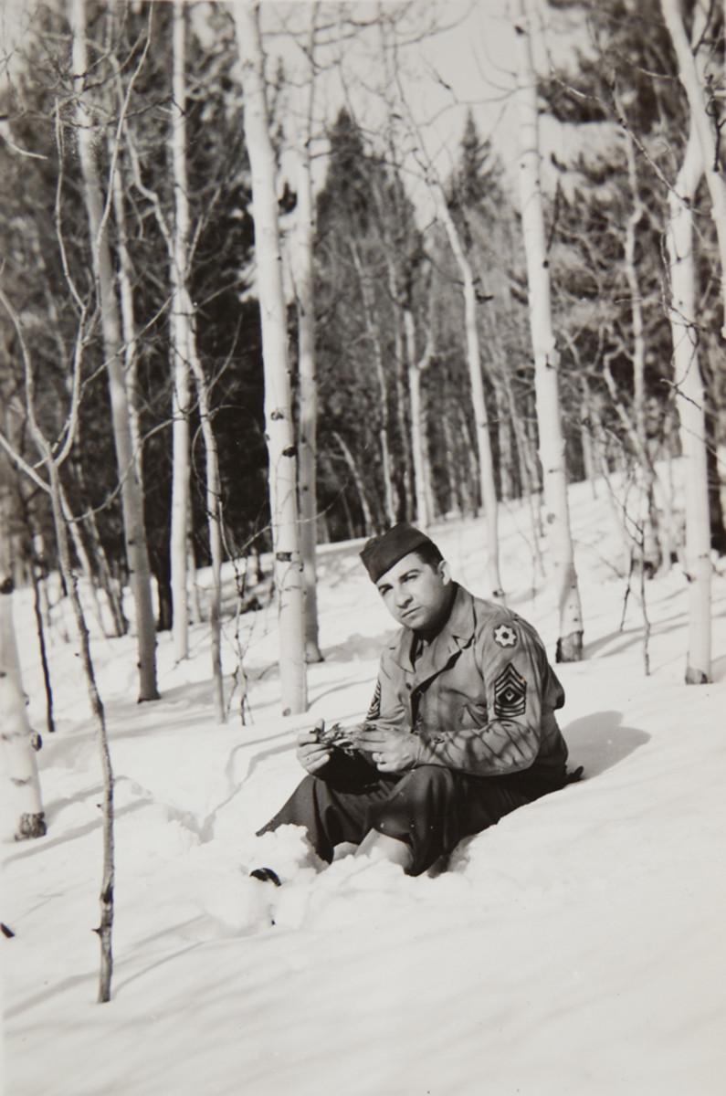 First Sergeant Mike Densch, Regular Army, Camp Hale, 1943.