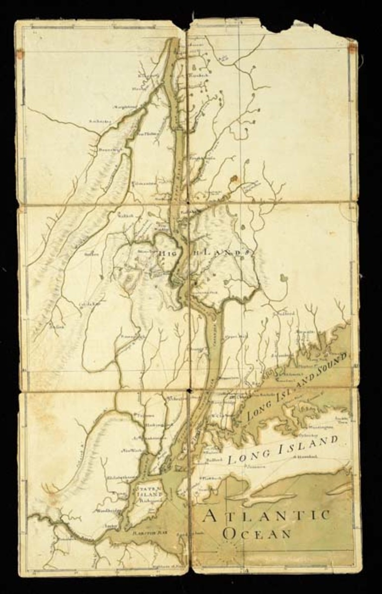 Francis Pfister folding map of the Hudson River Corridor, circa 1758, with original map case. Sold for $84,000