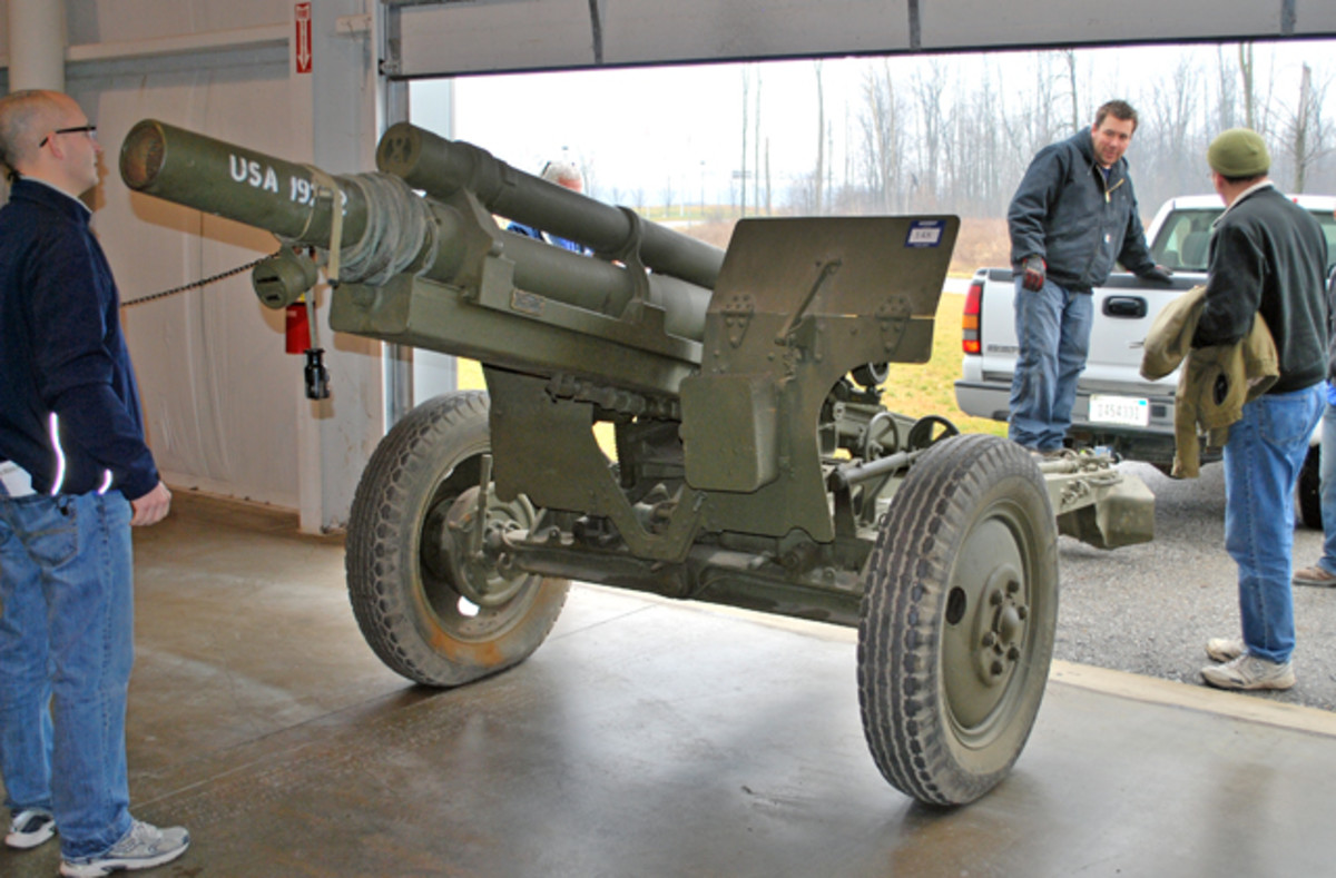This 105mm M2A1 howitzer was one of several pieces of artillery that were hurriedly and crudely de-milled the day before the auction. Despite the drastic surgery performed, this weapon sold for $35,000 on auction day.