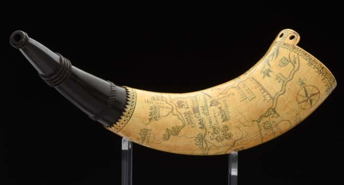 Rare North Carolina powder horn owned by Captain Charles Richardes, engraved with view of Charlestown, S.C., and Fort Johnston. Sold for $84,000