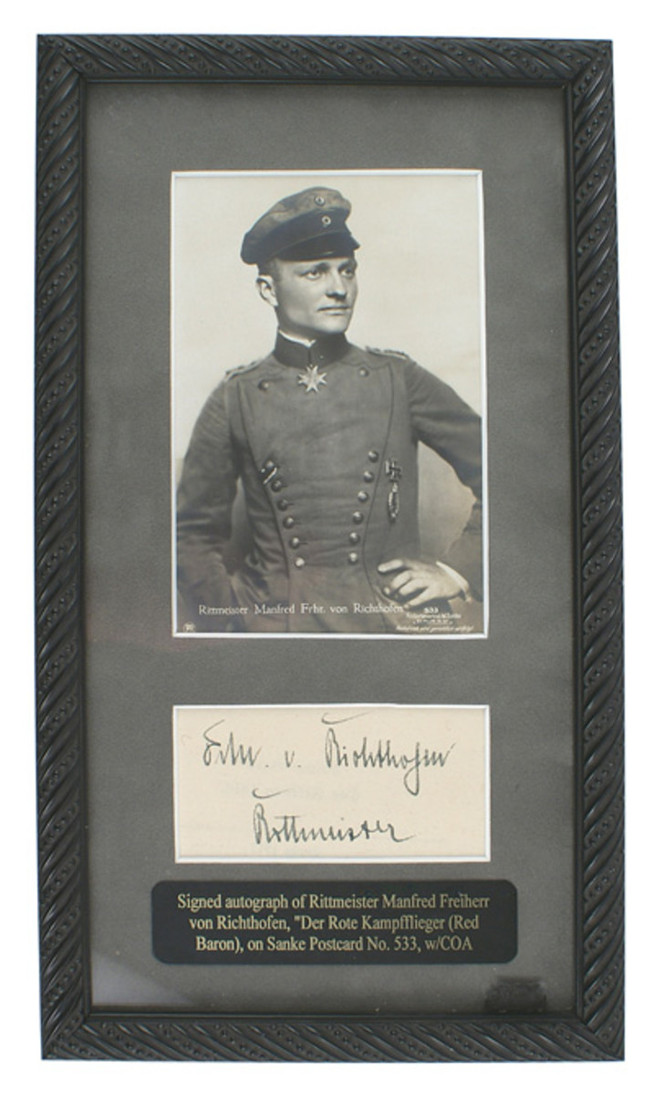 Autographed card with a clear and unfaded specimen of German World War I flying ace Baron von Richtofen's signature, framed, with a certificate of authenticity.