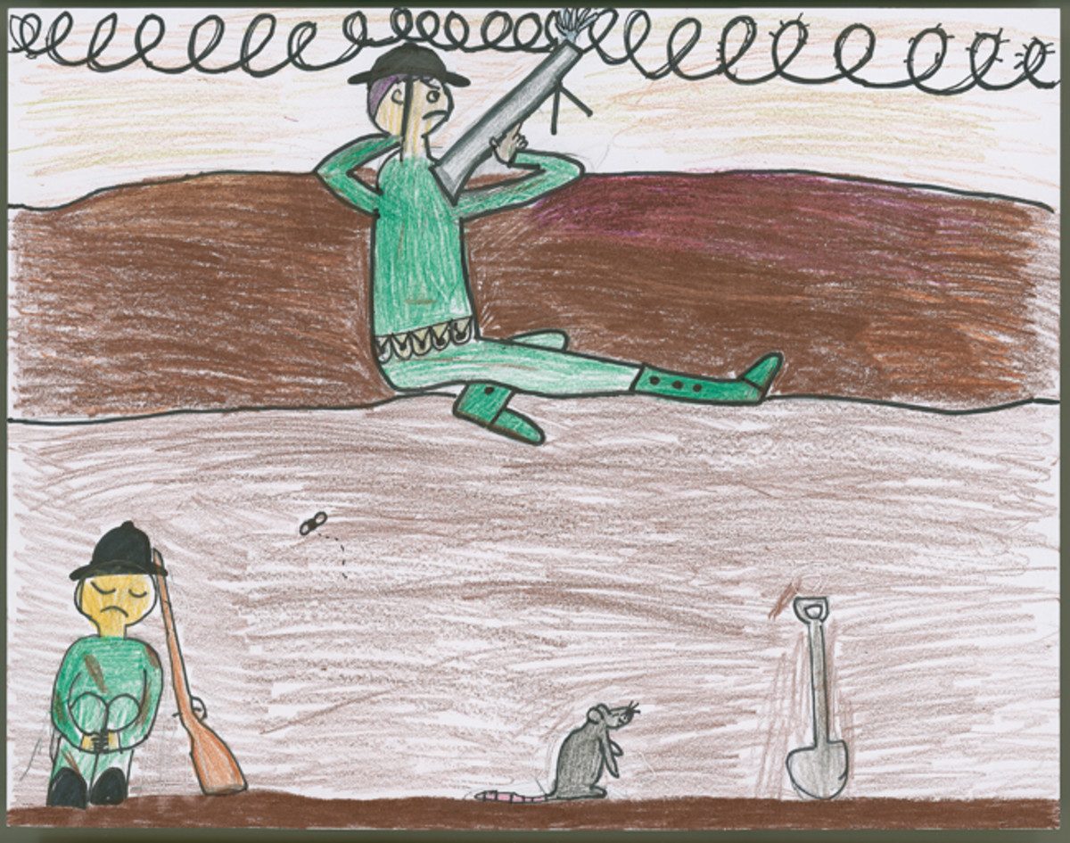 """WWI Trench Scene,"" by Camille Schoenberg, 6th Grade"