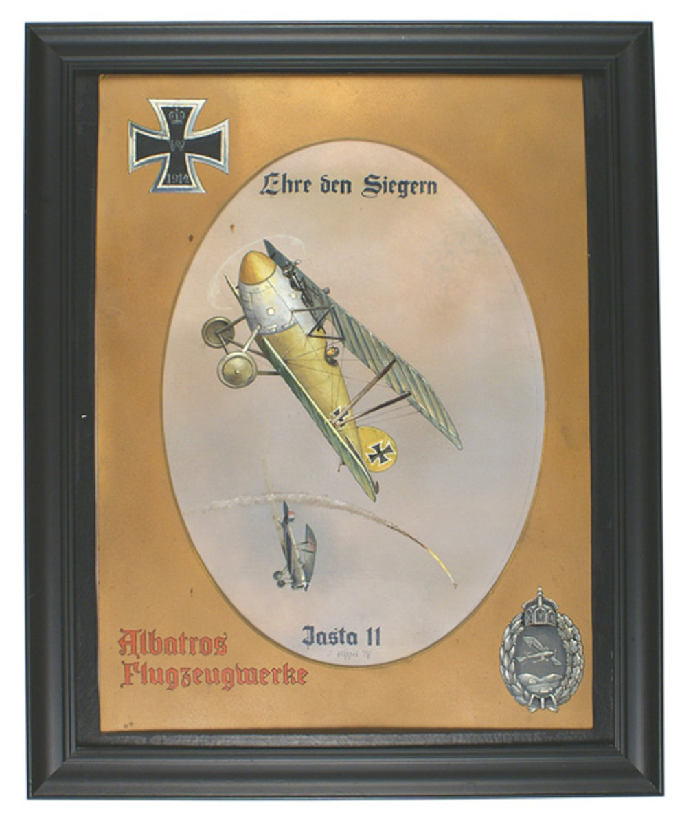 "Detailed painting of a World War I German Albatross plane downing a French aircraft, titled Ehre den Siegern and artist-signed ""J. Hippel '17."""