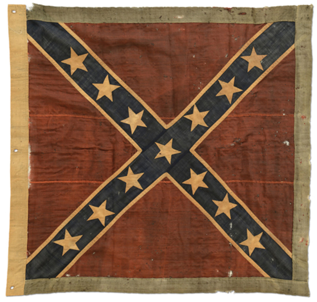Fine & Historic Army of Northern Virginia Battle Flag carried by Tucker's Naval Brigade at Battle of Sailor's Creek, one of the last engagements of the Civil War, sold for $109,250.