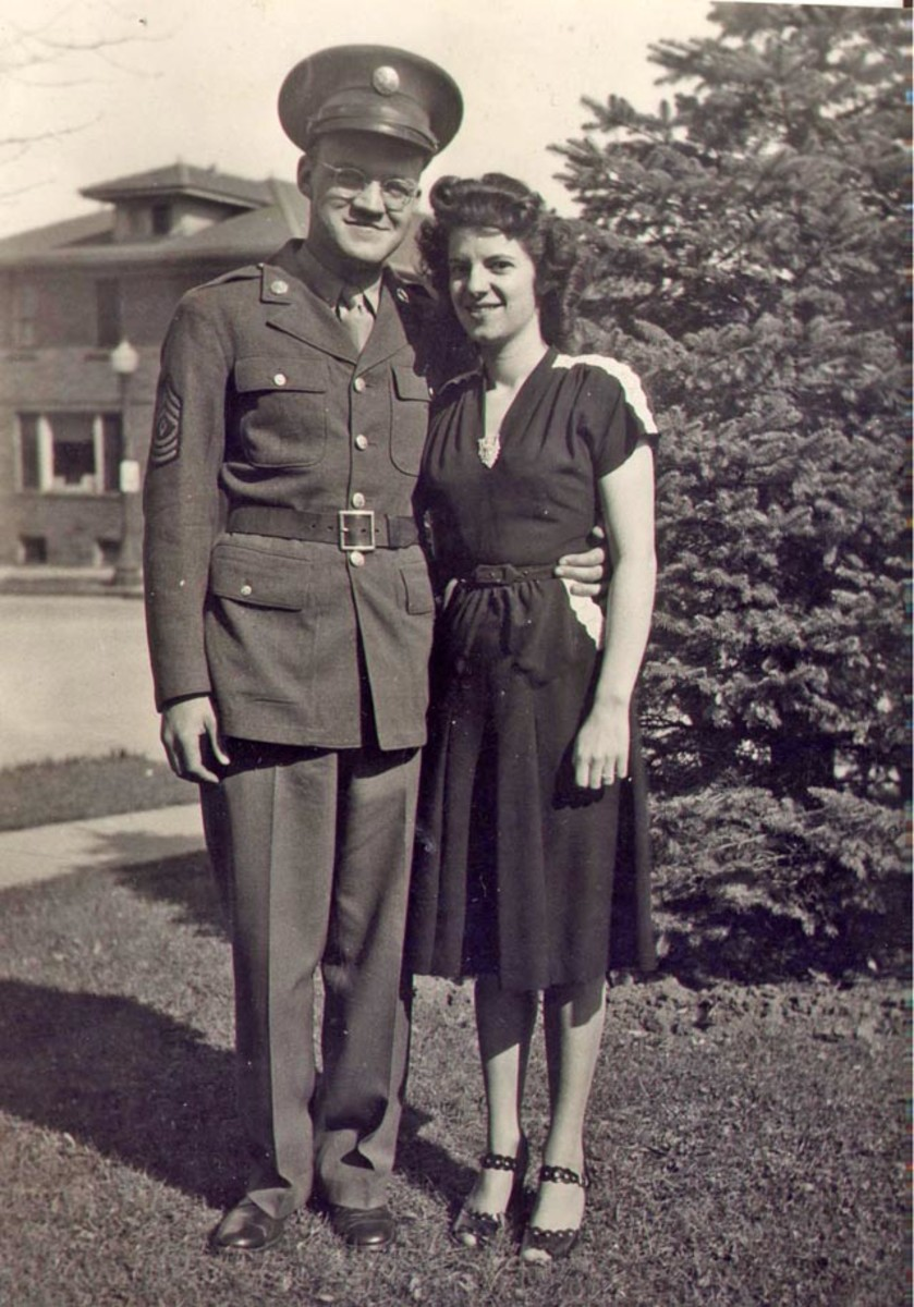 First Sergeant John M. Graf and his wife-to-be, Helen Robertson in 1945. A year later, they married and remained together for 68 years.