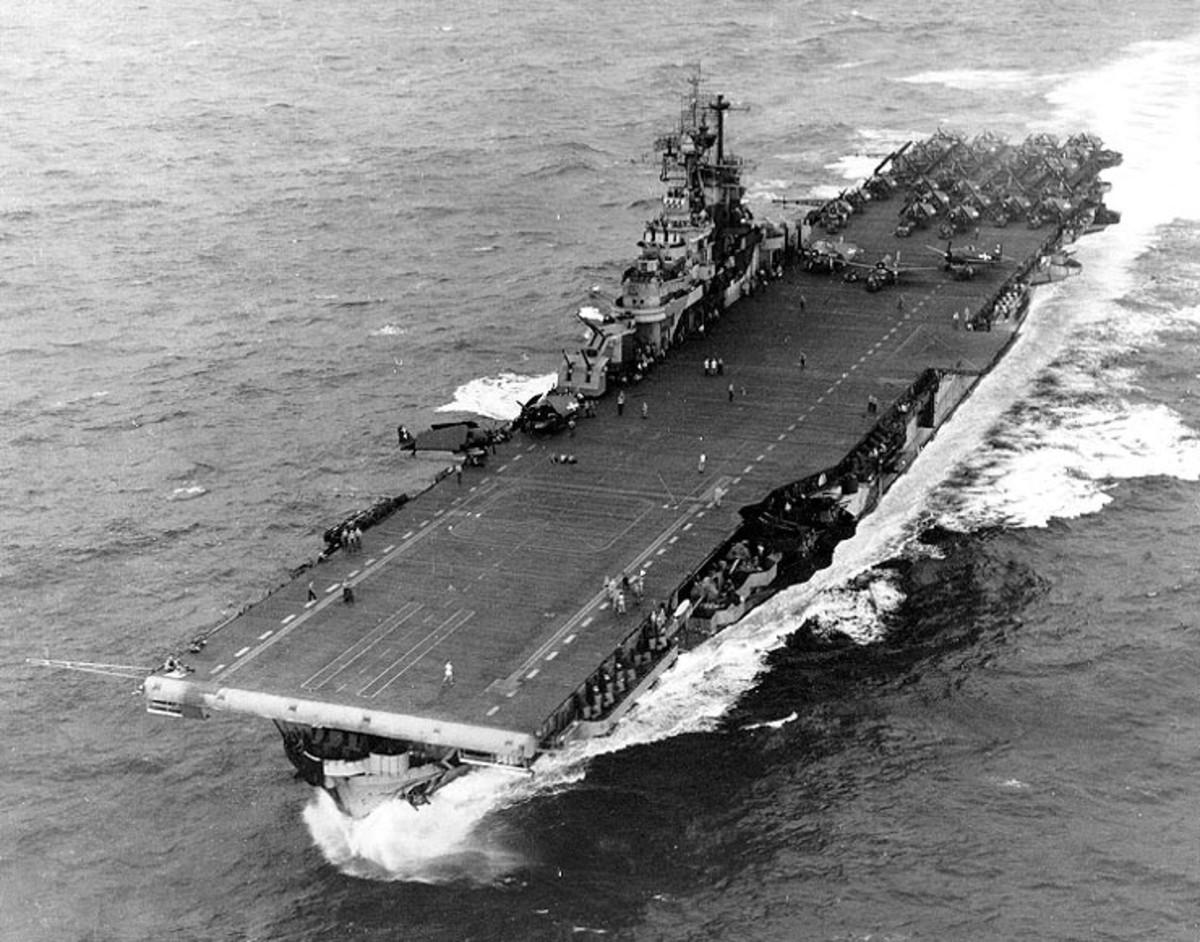 USS Intrepid CV-11 conducting flight operations during World War II.