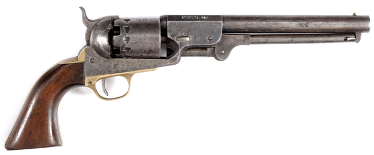 """Rare and Fine """"C H Rigdon, Augusta, GA CSA"""" Marked Confederate Revolver, part of the renowned MacConkey Collection; estimated at $40,000-60,000, sold for $63,250."""