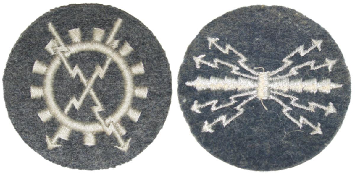 """(Left) """"Luftnachrichtengerat"""" Signals equipment personnel. (Right) """"Luftnachrichtenpersonal mit Funkprufung B"""" Radio Operator lowest class B."""