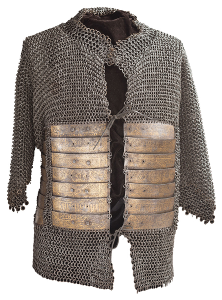 15th Century Shirt of Mail and Plate with Elaborate Gold Koftgari Decorated Plate Reinforcement with the Property Stamp from the Janissary Arsenal at the Hagia Irene Church in Istanbul with Inscription that Appears to Bear the name of the Recipient: Qaytbay Mamluk Sultan
