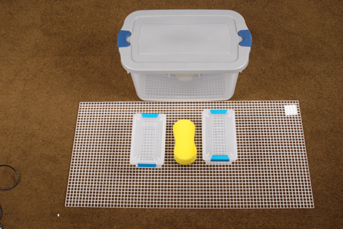 To make your humidity chamber, a visit to your local hardware or building store should provide all the parts you need: A large (66-quart) Rubbermaid or Sterlite tub with lid; a couple of small, shoebox-sized containers; large sponge and a sheet of egg crate lighting panel.