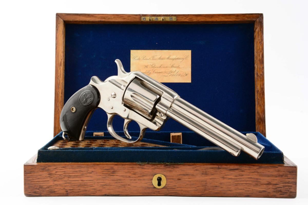 Oak Cased Colt Model 1878 Nickel Fat Grip Double Action Revolver