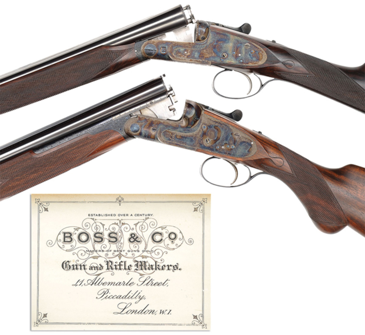 Extraordinary Consecutive SN Brace of Boss Best Quality 28 ga Game Guns (O/U & SxS) As new condition with motor case.