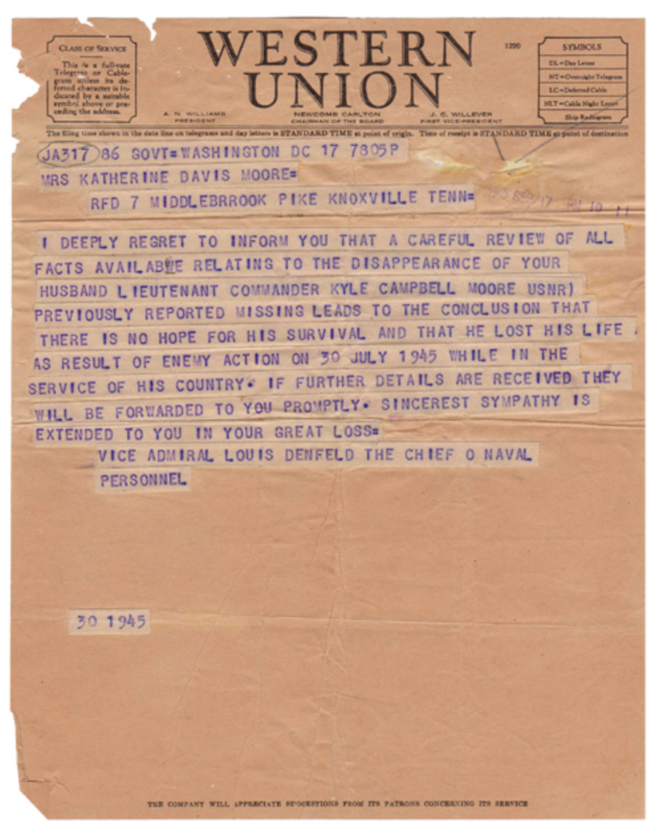 The official telegram to Katherine announcing Kasey's fate on his beloved Indy. It is the type of correspondence that no family ever wanted to receive. Lt. Commander Moore first boarded the USS Indianapolis on 30 July 1942. He went down with her three years later – to the day.