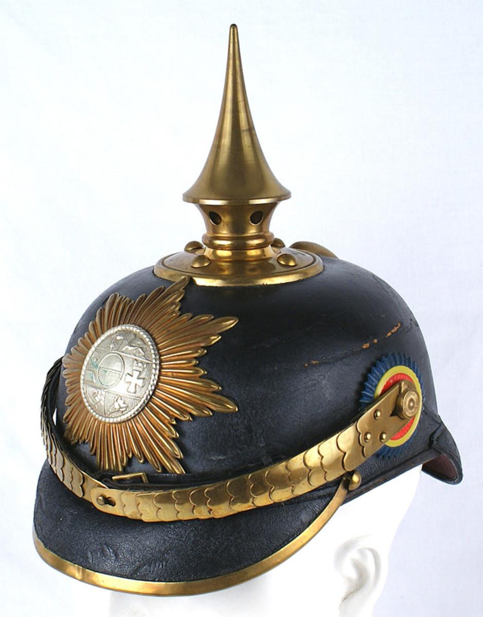 Imperial German 89th Regiment, 2nd Battalion, Mecklenburg Grenadier one-year volunteer helmet ($3,120).
