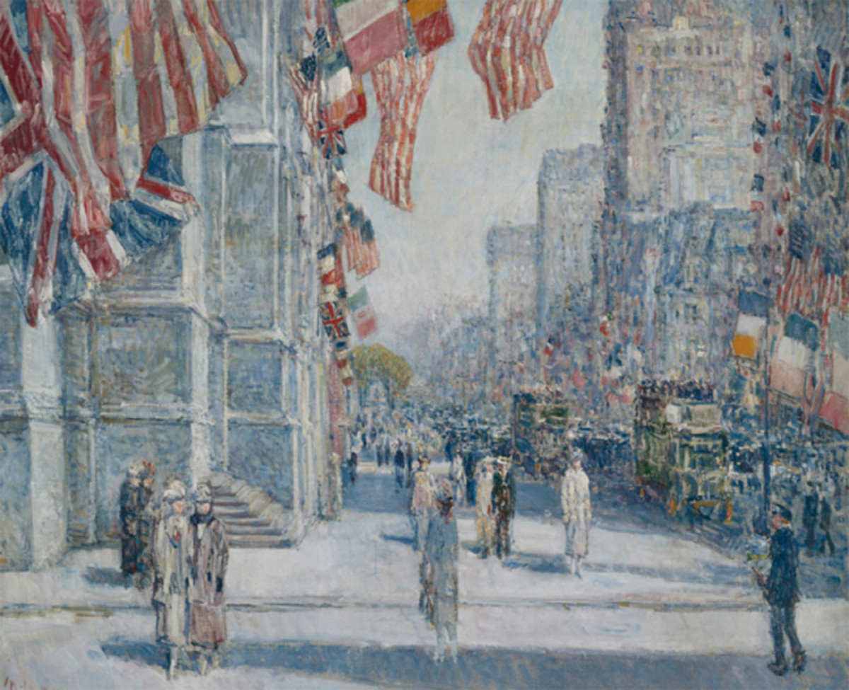 Childe Hassam (1859–1935). Early Morning on the Avenue in May 1917, 1917. Oil on canvas, 30 1/8 x 36 1/8 in. Addison Gallery of American Art, Phillips Academy, Andover, Massachusetts, Bequest of Candace C. Stimson, 1944.20. Photo: Addison Gallery of American Art, Phillips Academy, Andover/Art Resource, NY