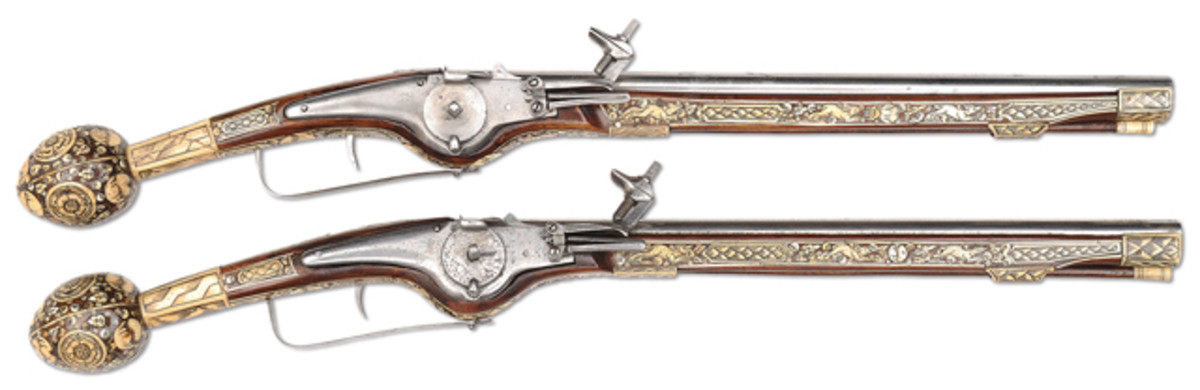 Composite pair of long inlaid German Wheel Lock Holster Pistols. Partly 17th century (Coll of Dr. Douglas Sirkin)