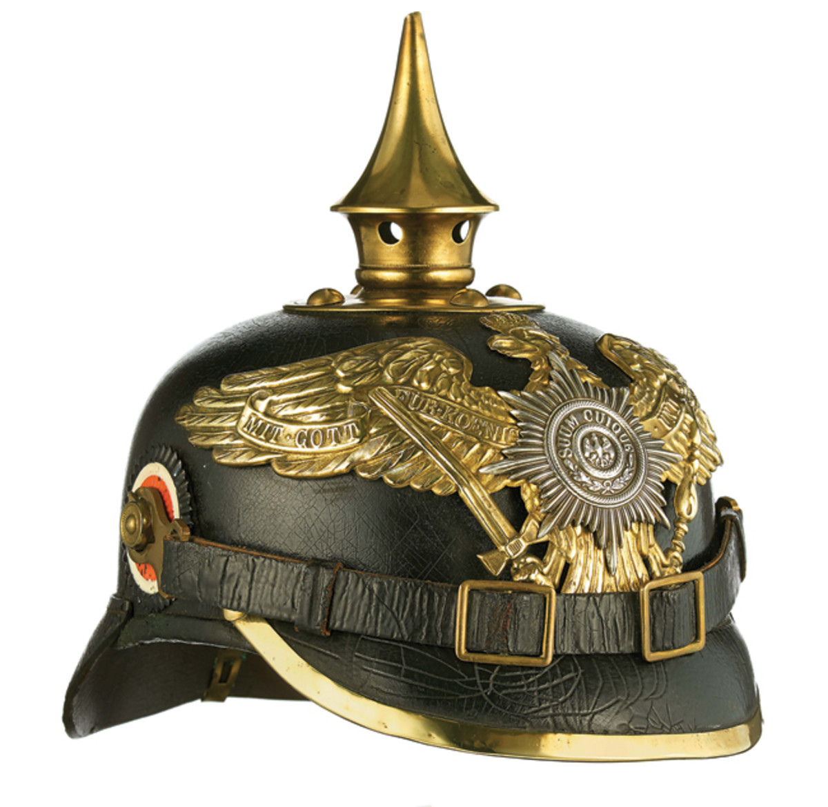"The ""Reich's Kokarde"" (black / white / red) worn on the right side of the Pickelhaube."
