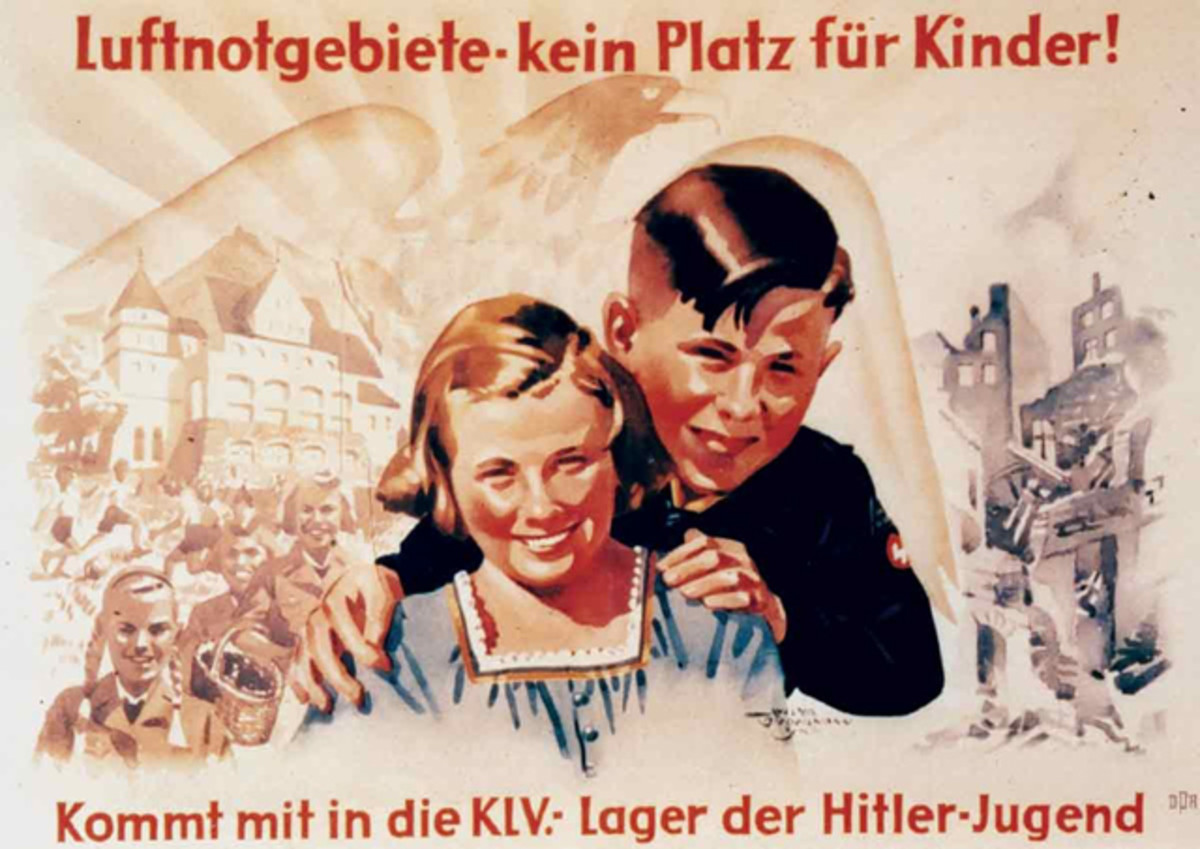 "When the allied bomb raids started to become more frequent in late 1940, Germany decided to establish the ""extended evacuation of children to rural areas""(KLV – Kinderlandverschickung). The plan was two-fold: To move children to safety away from the urban centers, and use the opportunity to extend the influence of the Hitler Youth."