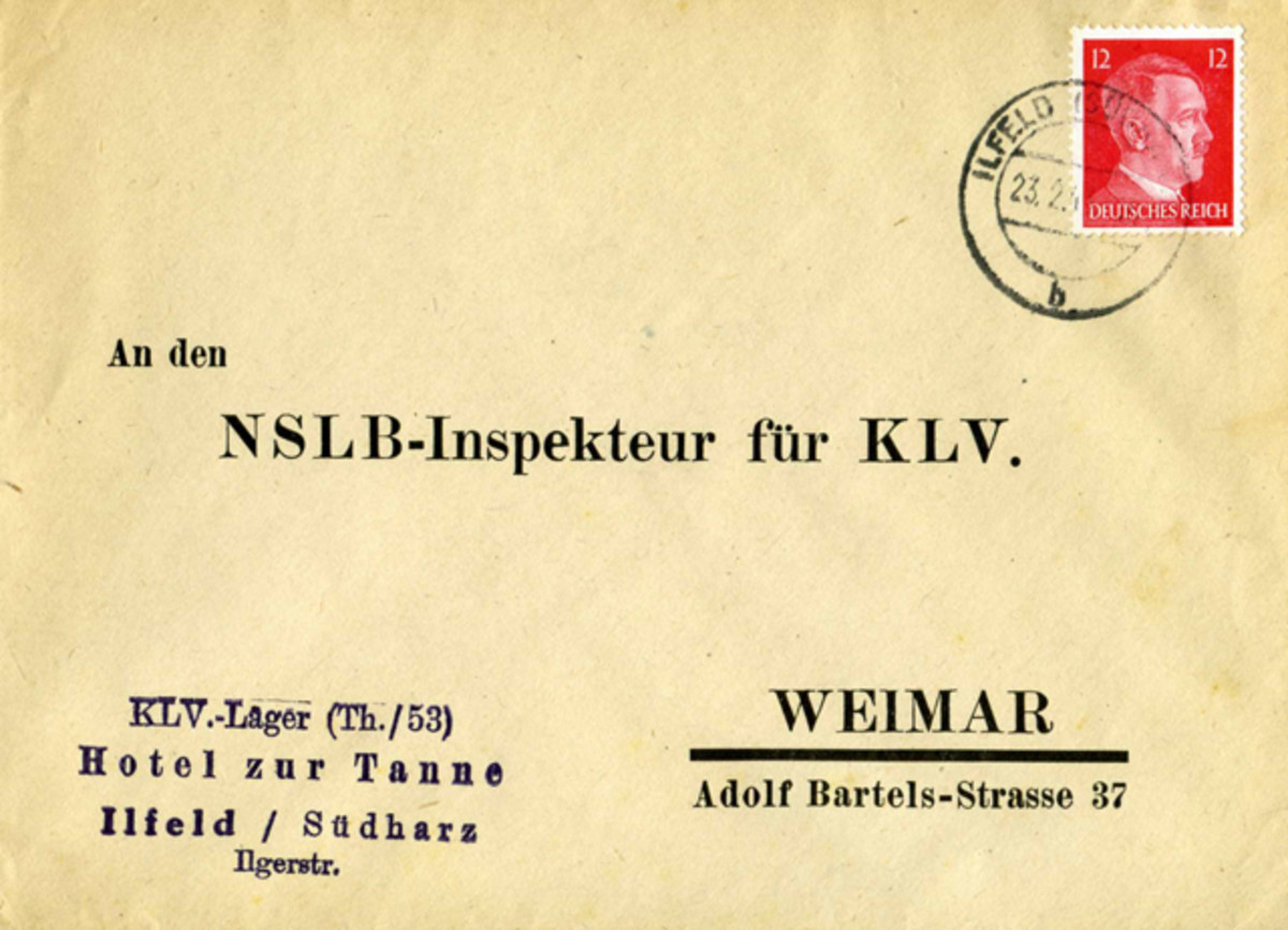 This envelope was sent from KLV-Camp (Thuringia/53) located in the Hotel zur Tanne on Ilgerstrasse in the town of Ilfeld in the Südharz area of the Province of Thuringia. It was sent to the National Socialist Teacher's League (NSLB) Inspector for Kinderlandverschickung in Weimar. The pre-printed address on the envelope confirms that the NSLB was involved in the administration of KLV-camps.