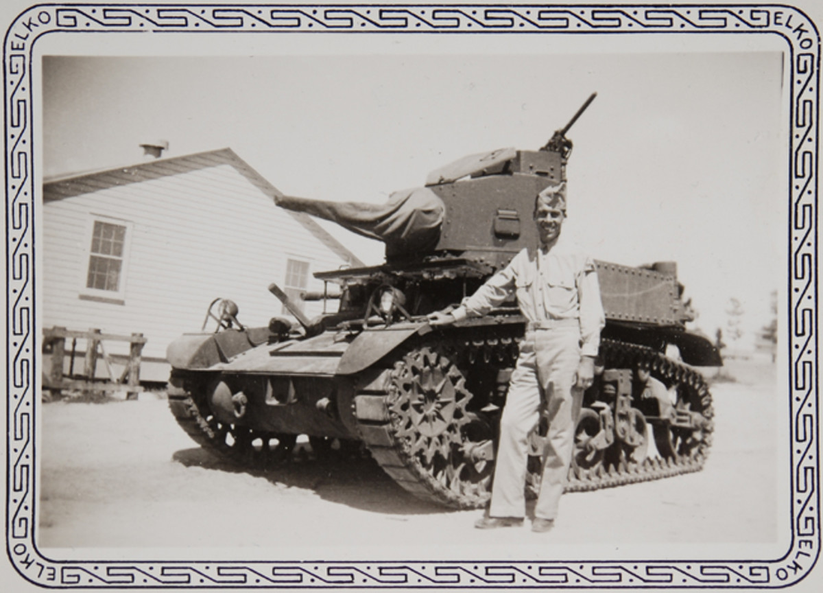 """The only info on this early WWII snapshot is the handwritten note, """"I'm standing by a light (13-ton) tank at the time a fellow took this of me."""" John Adams-Graf collection"""