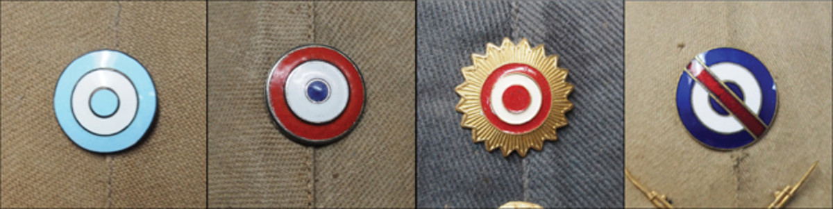 Since gaining independence from Spain the various nations of South America have utilized cockades and this continued in the 20th century when these were worn on caps and sun helmets. From left to right: Argentina, Chile, Peru and Uruguay – the latter being unique in that it is based on the Flag of Artigas, which pays homage to José Gervasio Artigas, national hero of Uruguay.