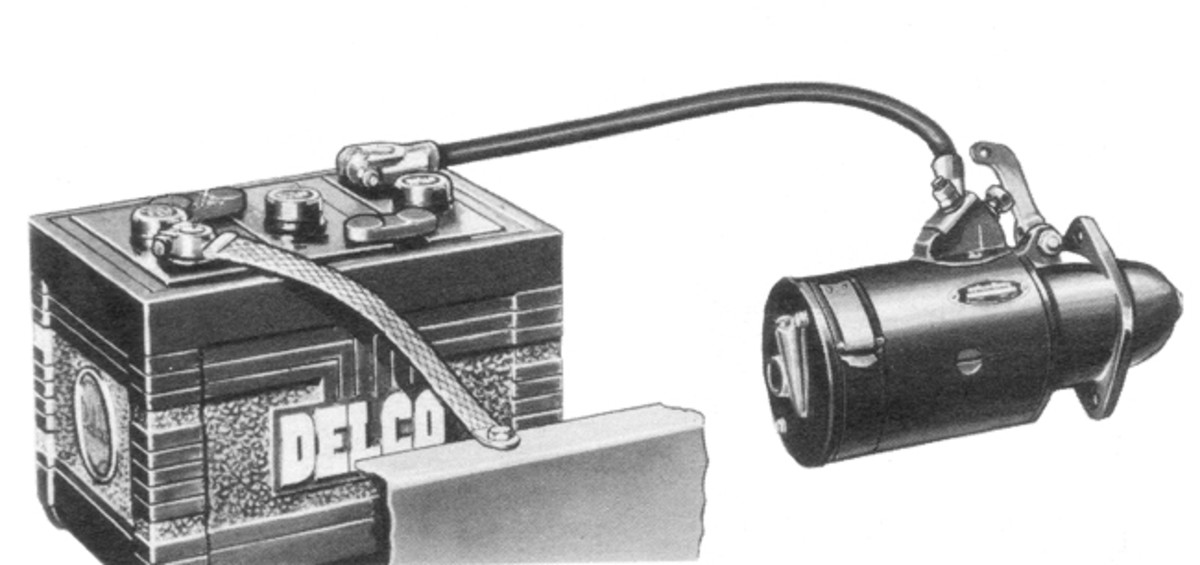 The basic model of an overrunning clutch drive starter has only a one wire hookup: A heavy-gauge cable that runs from the battery to a foot pedal-operated switch on the starter's case. Stepping on the pedal closes the switch, energizing the starter's field coils to spin the armature. The armature's rotation moves the starter's pinion gear into mesh with the engine's flywheel ring gear, which, in turn, cranks the engine.