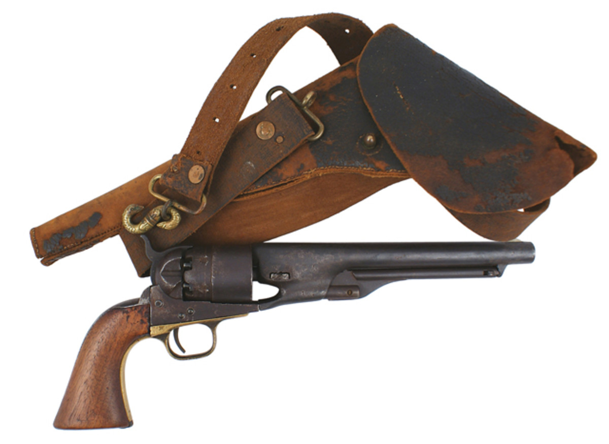 Confederate-used and well-worn M1860 Army Colt revolver, with period holster ($1,821).