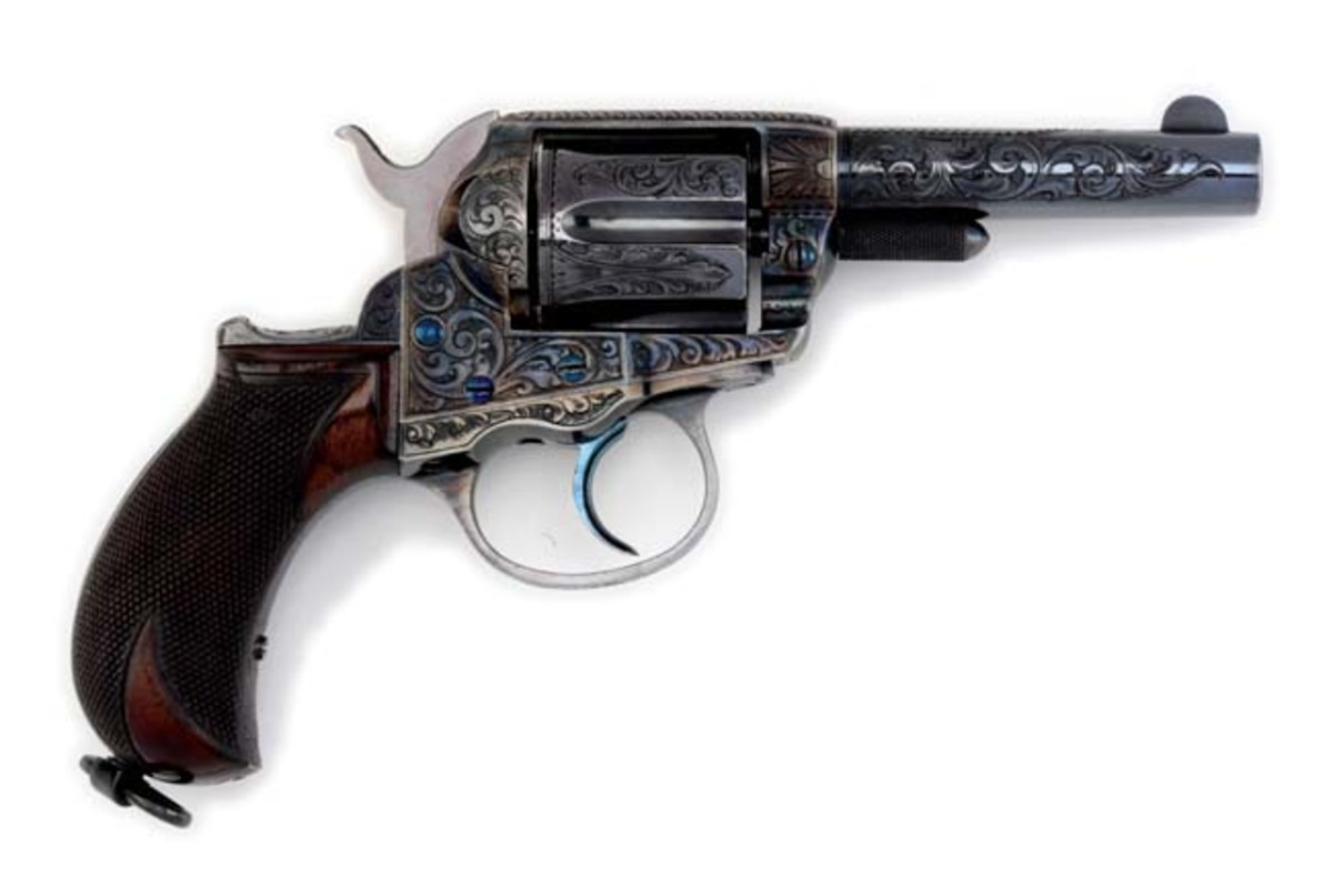 1886 factory-engraved, blue-finish Colt Lightning, likely the finest known example of its type. Top lot of the sale: $190,650